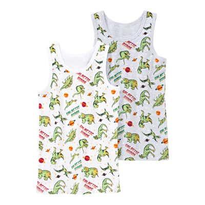 Jungen-Unterhemd mit Dino-Muster, 2er Pack