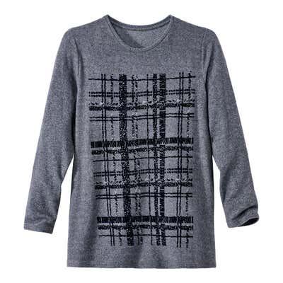 Damen-Sweatshirt mit wunderschönen Strasssteinen, große Größen