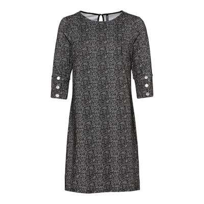 Damen-Jacquard-Kleid mit Zierknöpfen