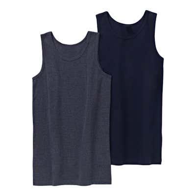 Jungen-Unterhemd in Jeans-Melange-Optik, 2er Pack
