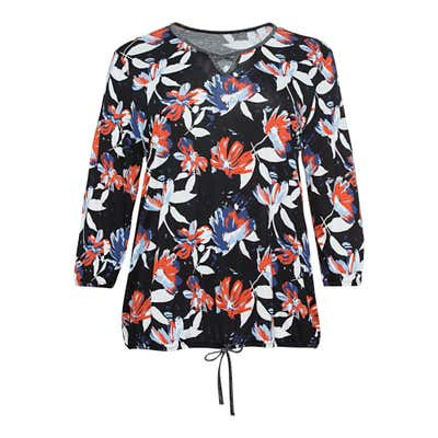 Damen-Shirt mit Blumendruck, große Größen