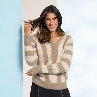 Damen-Pullover mit breiten Streifen