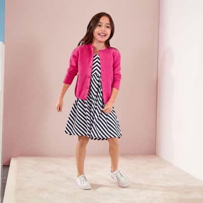Kinder-Mädchen-Kleid mit Schrägstreifen