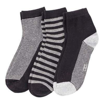 Herren-Kurzschaft-Socken mit Streifemuster, 3er Pack