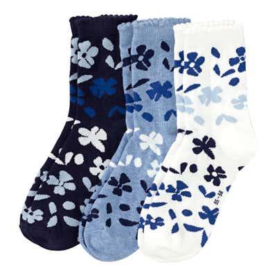 Damen-Socken mit Blumenmuster, 3er Pack