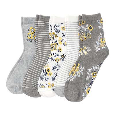Damen-Socken mit Blümchen-Design, 5er Pack