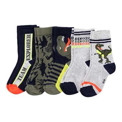 Jungen-Socken mit Dino-Design, 5er Pack