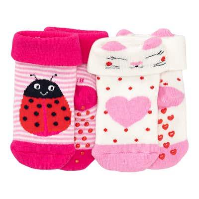 Baby-Mädchen-Socken mit ABS-Noppen, 2er Pack