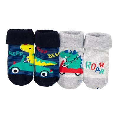 Baby-Jungen-Socken mit ABS-Noppen, 2er-Pack