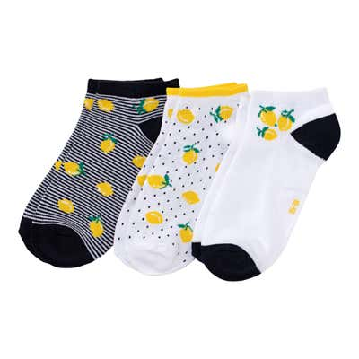 Damen-Sneaker-Socken mit Zitronen-Motiv, 3er-Pack