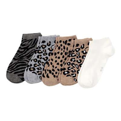 Damen-Sneaker-Socken mit Leoparden-Muster, 5er-Pack