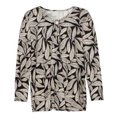 Damen-Shirt mit Blatt-Muster, große Größen