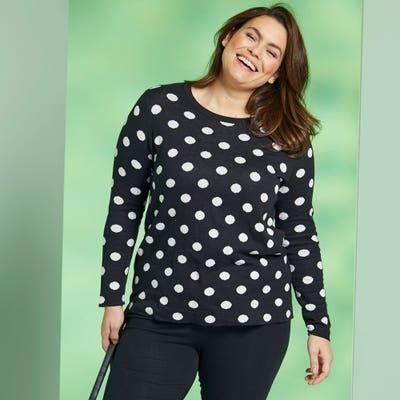 Damen-Strickpullover mit Punkte-Muster, große Größen