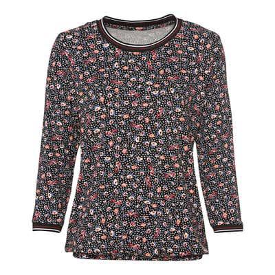 Damen-Shirt mit gestreiftem Zierband