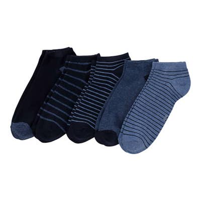 Herren-Sneaker-Socken mit Streifenmuster, 5er-Pack