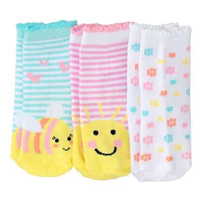 Baby-Mädchen-Socken mit Mäusezähnchen, 3er-Pack