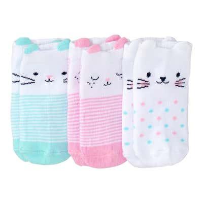 Baby-Mädchen-Sneaker-Socken mit Tiergesichtern, 3er-Pack