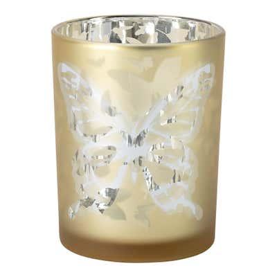 Teelichthalter mit Schmetterlings-Motiv, ca. 10x13cm