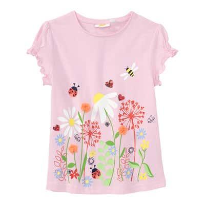 Mädchen-T-Shirt mit Organza-Blüten