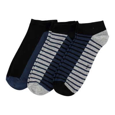 Herren-Sneaker-Socken mit Streifenmuster, 3er-Pack