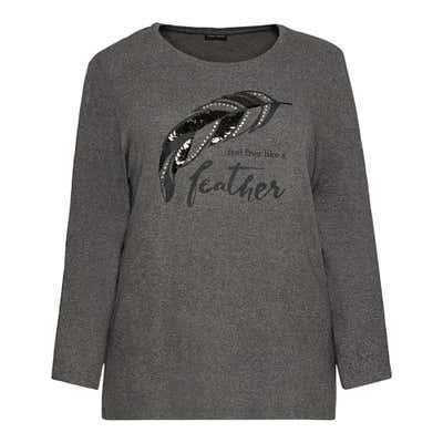 Damen-Sweatshirt mit Feder-Motiv, große Größen
