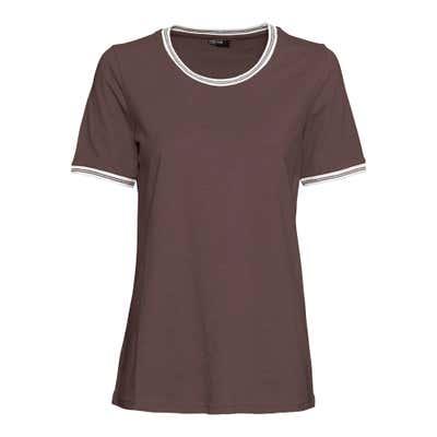 Damen-T-Shirt mit gestreiftem Kontrast-Band