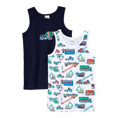 Jungen-Unterhemd mit Baustellenfahrzeugen, 2er Pack