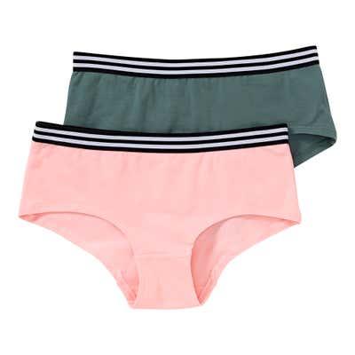 Mädchen-Panty mit gestreiftem Bund, 2er Pack