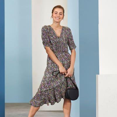 Damen-Kleid mit Stufen-Volant