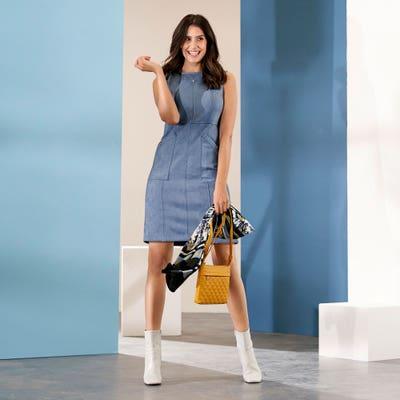 Damen-Kleid mit aufgesetzten Taschen