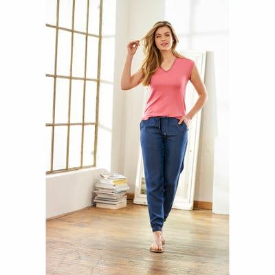 Damen-Tencel-Hose mit elastischem Bund