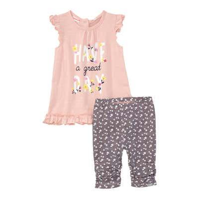 Baby-Mädchen-Set mit schönem Frontprint, 2-teilig