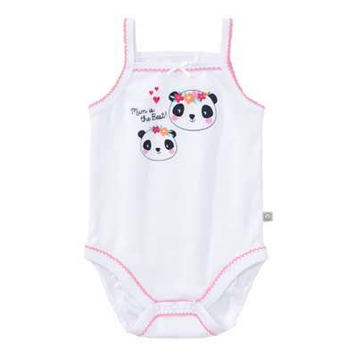 Baby-Mädchen-Body mit Panda-Frontaufdruck