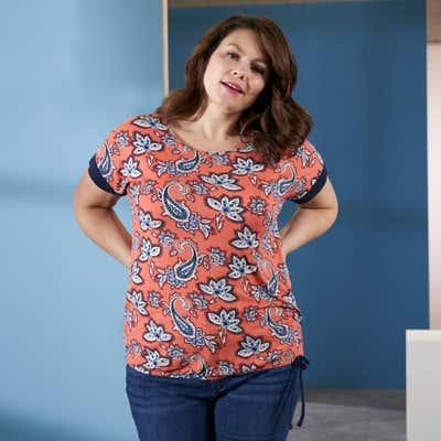 Damen-T-Shirt mit Schnürbändern, große Größen