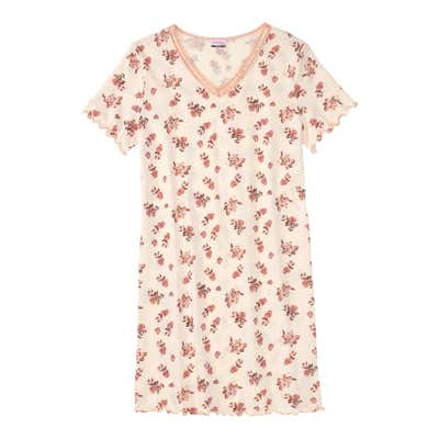 Damen-Nachthemd mit Spitze am Ausschnitt