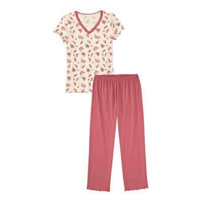 Damen-Schlafanzug mit gewelltem Saum, 2-teilig