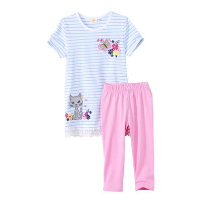 Mädchen-Shirt und Capri-Leggings mit Streifen, 2er-Set