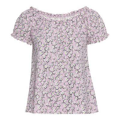 Damen-T-Shirt mit Gummizug am Ausschnitt