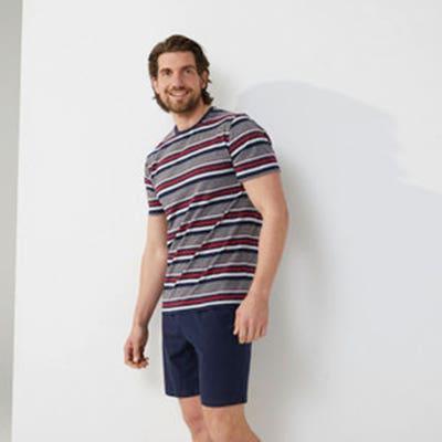 Herren-Schlafanzug mit Ringel-Muster, 2-teilig