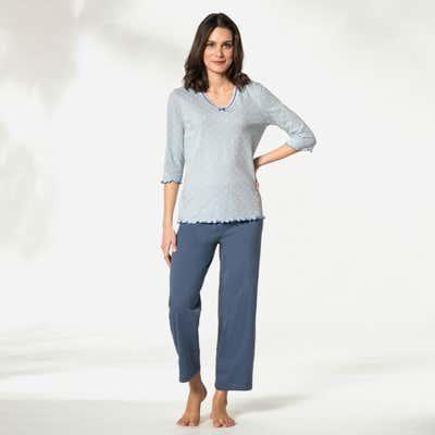 Damen-Schlafanzug mit Zierschleife, 2-teilig