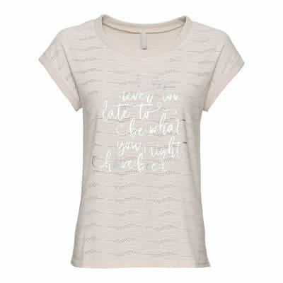 Damen-T-Shirt mit Lochstickerei