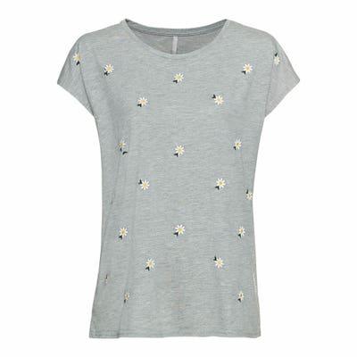 Damen-T-Shirt mit gestickten Gänseblümchen