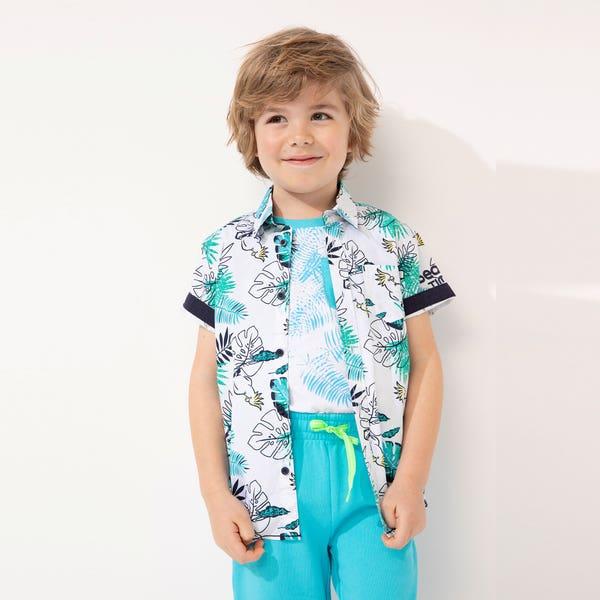 Jungen-Hemd mit exotischen Blättern