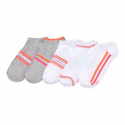 Damen-Sport-Sneaker-Socken mit Linien-Muster, 5er-Pack