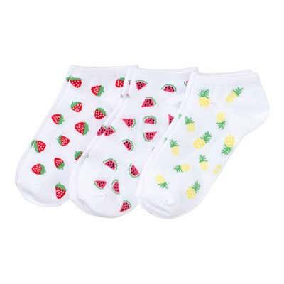 Damen-Sneaker-Socken mit Frucht-Aufdruck, 3er-Pack