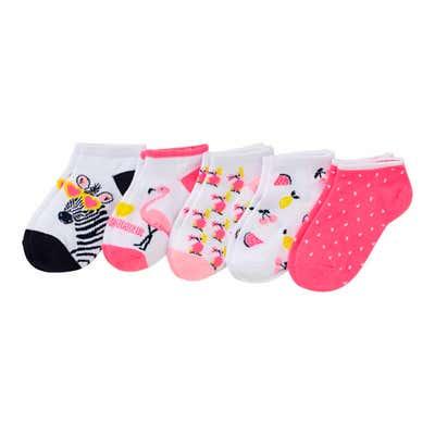 Mädchen-Sneaker-Socken mit verschiedenen Motiven, 5er-Pack