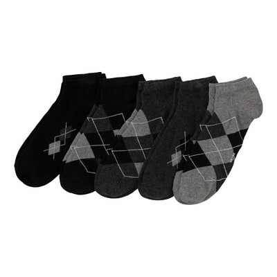 Herren-Sneakersocken mit Rhombus-Muster, 5er-Pack