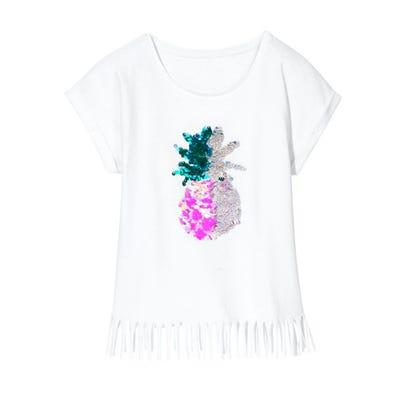 Mädchen-T-Shirt mit Wendepailletten