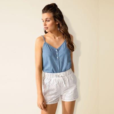 Damen-Shorts mit Stickerei-Design