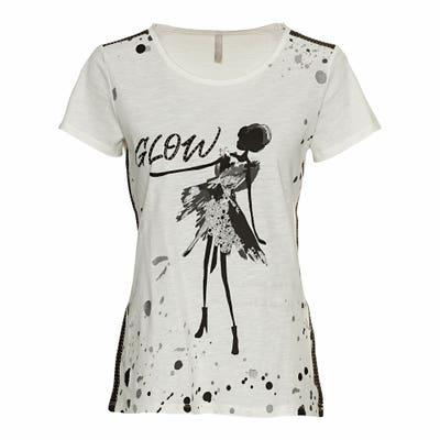Damen-T-Shirt mit glitzerndem Frontaufdruck